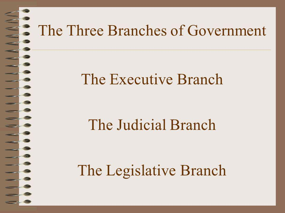 The Three Branches of Government The Executive Branch The Judicial Branch The Legislative Branch