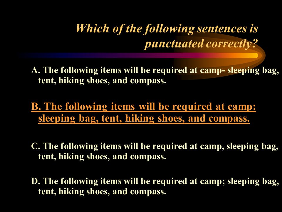 Which of the following sentences is punctuated correctly.