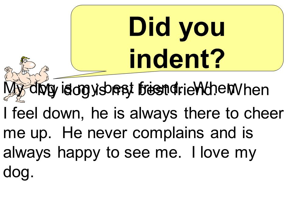 Try it.Recopy this paragraph and indent. My dog is my best friend.