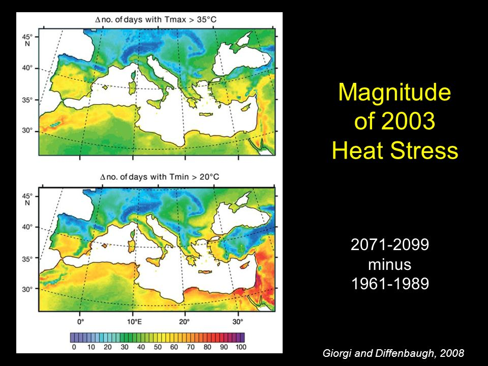 Magnitude of 2003 Heat Stress Giorgi and Diffenbaugh, minus