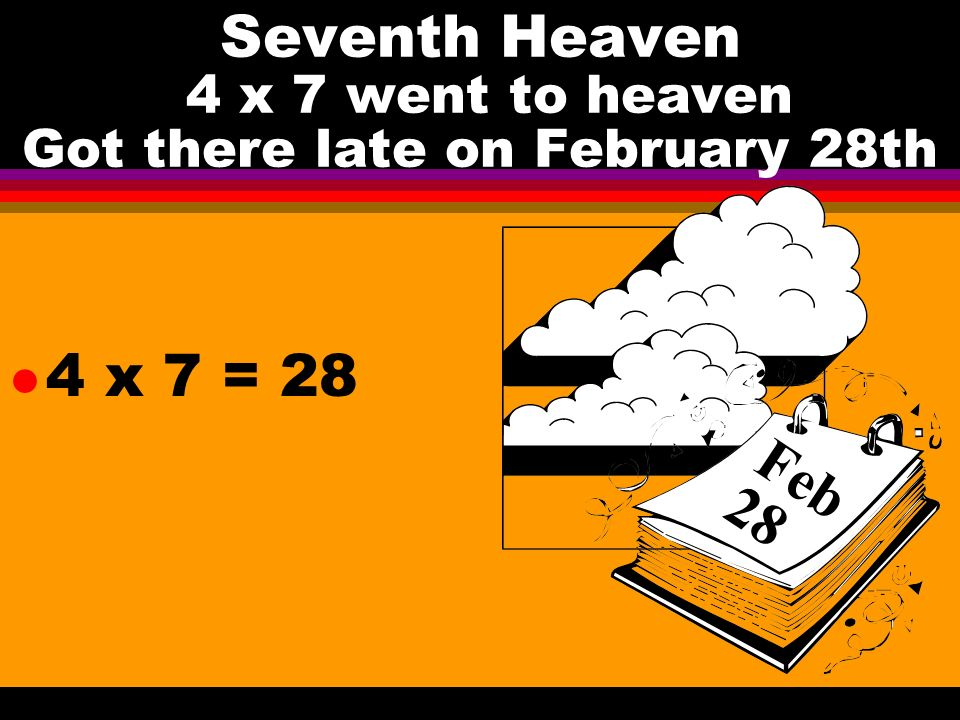Seventh Heaven 4 x 7 went to heaven Got there late on February 28th l 4 x 7 = 28 Feb 28