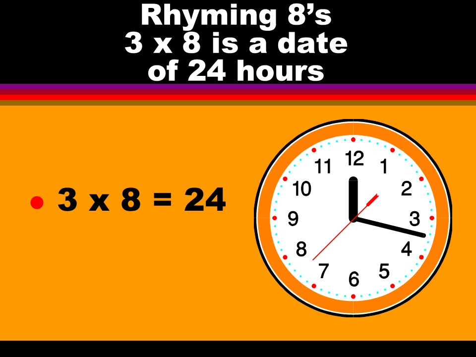 Rhyming 8s 3 x 8 is a date of 24 hours l 3 x 8 = 24