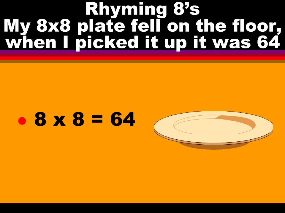 Rhyming 8s My 8x8 plate fell on the floor, when I picked it up it was 64 l 8 x 8 = 64