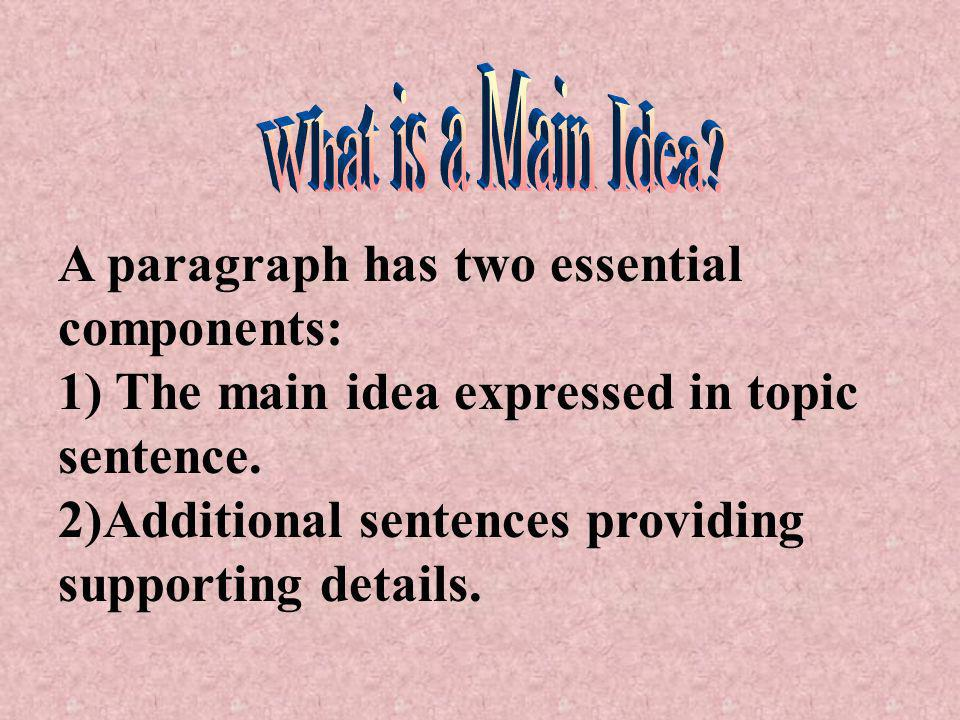 A paragraph has two essential components: 1) The main idea expressed in topic sentence.