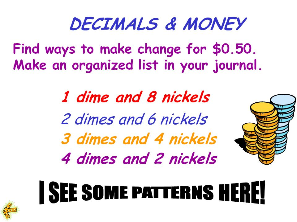 Find ways to make change for $0.50.Make an organized list in your journal.