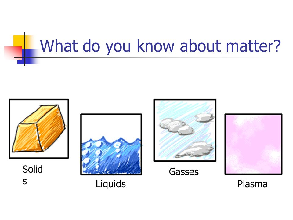 Matter: Its what the worlds made of.