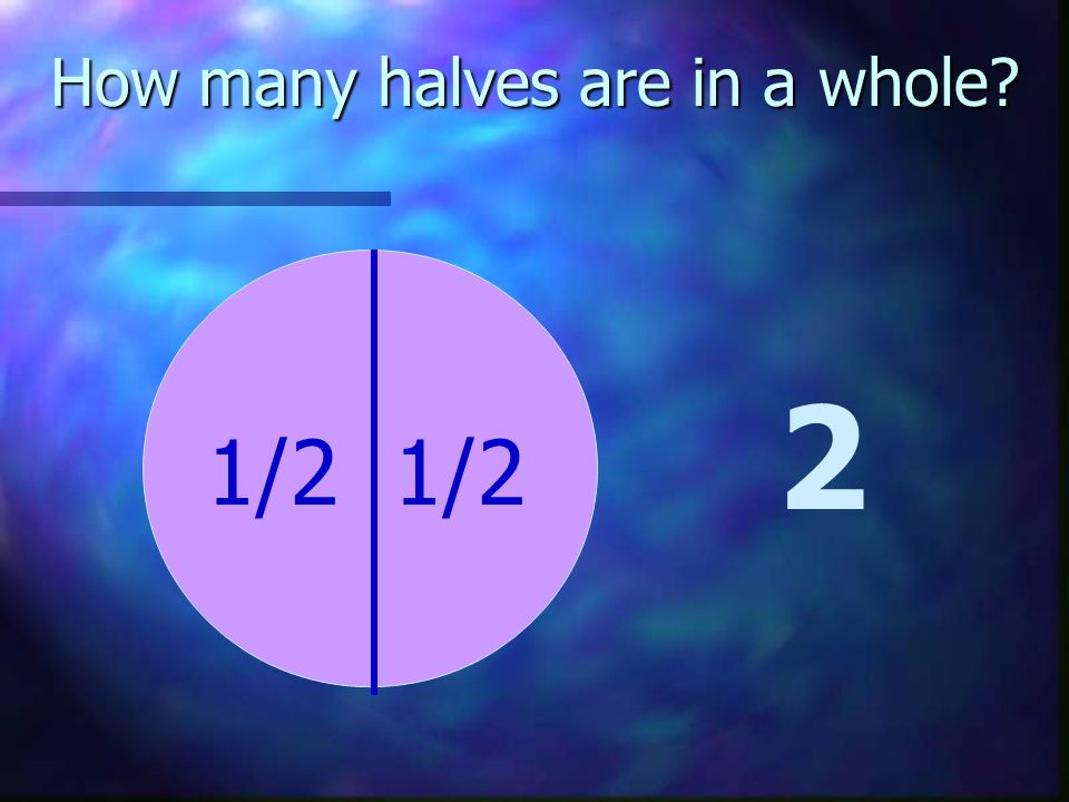 How many halves are in a whole? 2 1/2