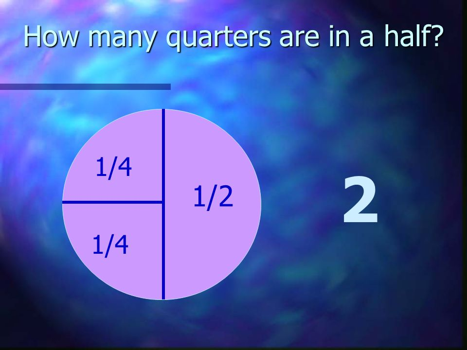 How many quarters are in a half? 2 1/4 1/4 1/2