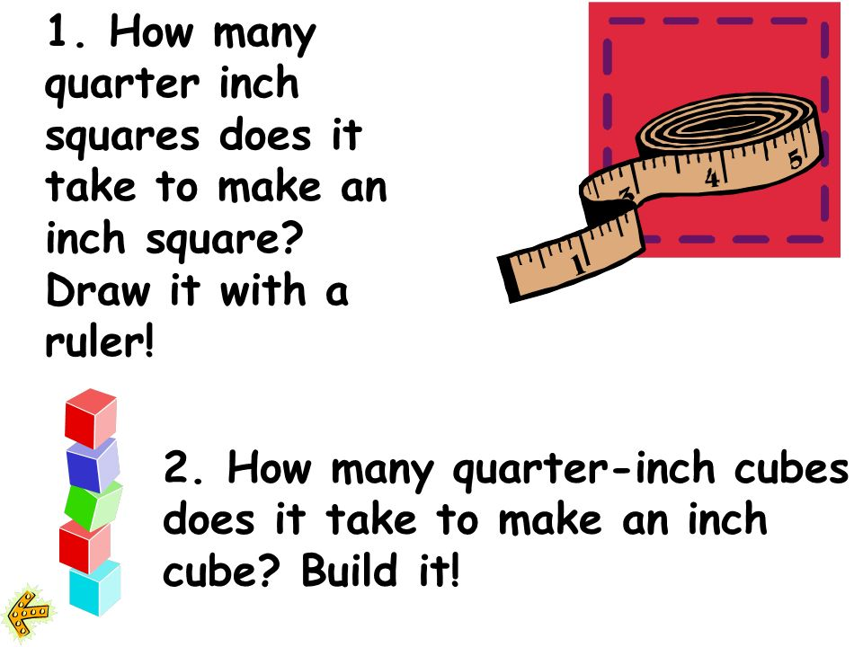 1.How many quarter inch squares does it take to make an inch square.