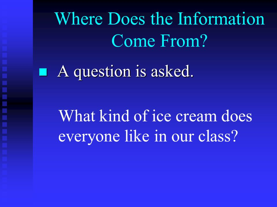 Where Does the Information Come From. A question is asked.