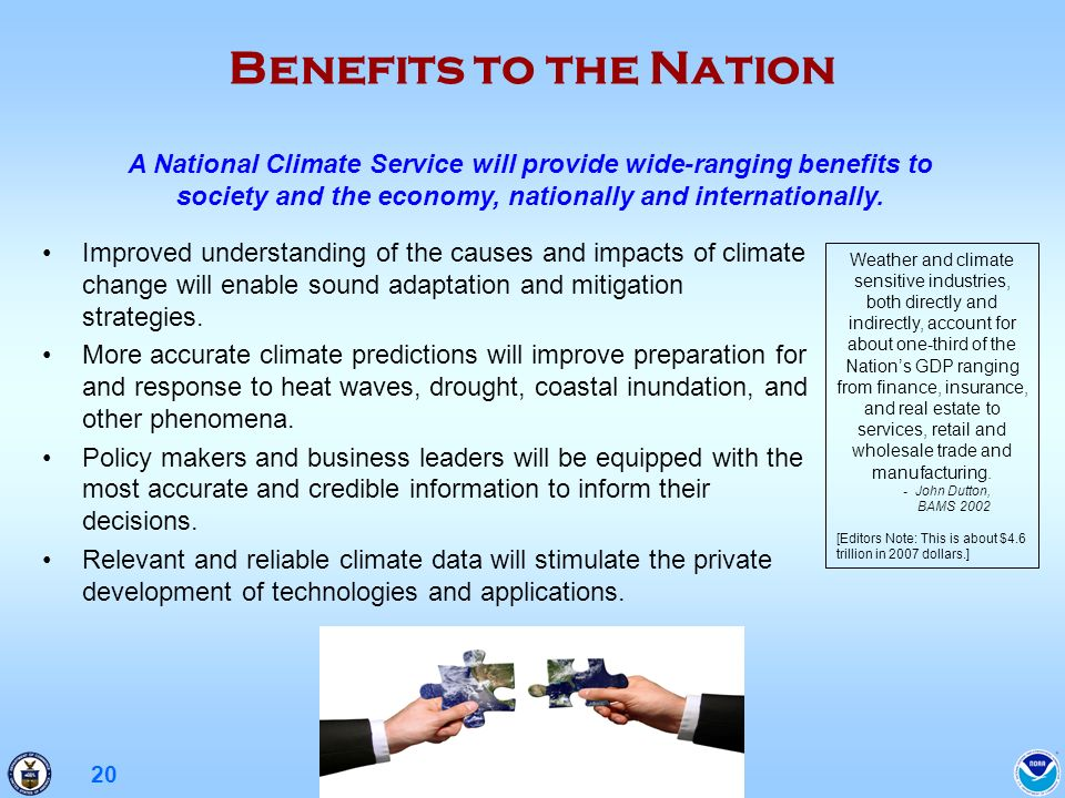 20 Benefits to the Nation Improved understanding of the causes and impacts of climate change will enable sound adaptation and mitigation strategies.