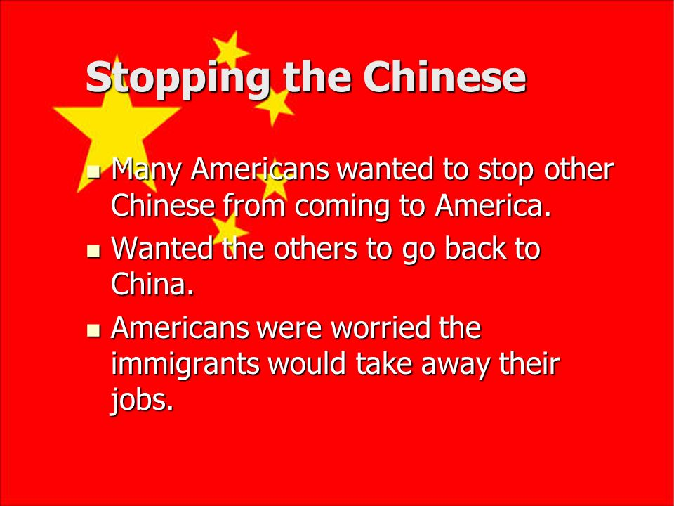 Asian Immigrants Chinese immigrants came to United States after the California gold rush in 1849. Faced prejudice from some Americans. Had to pay a sp