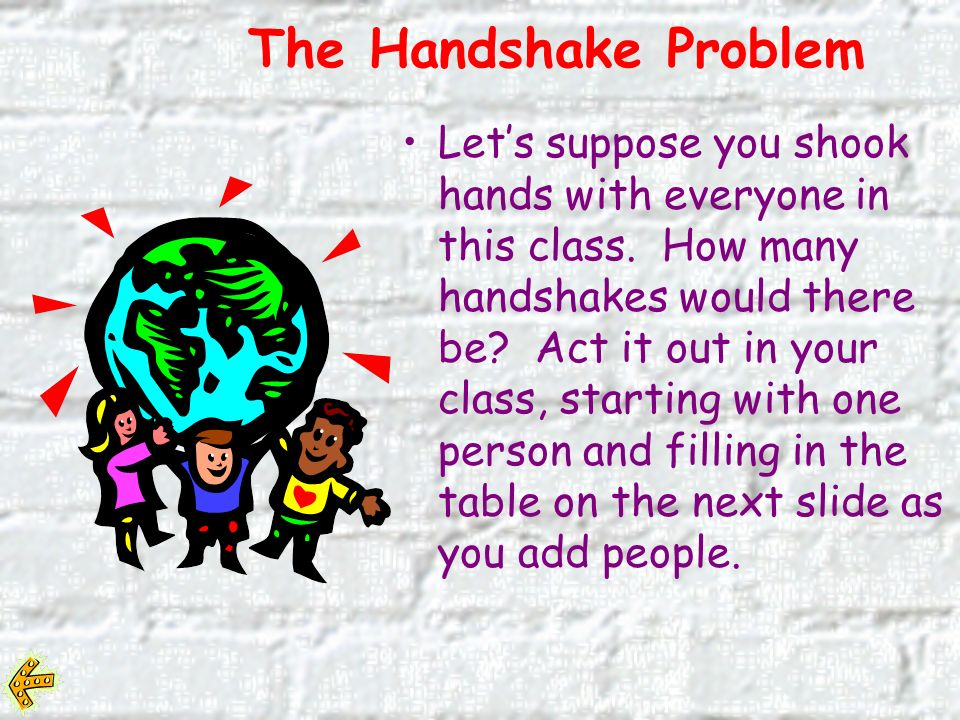 Lets suppose you shook hands with everyone in this class.