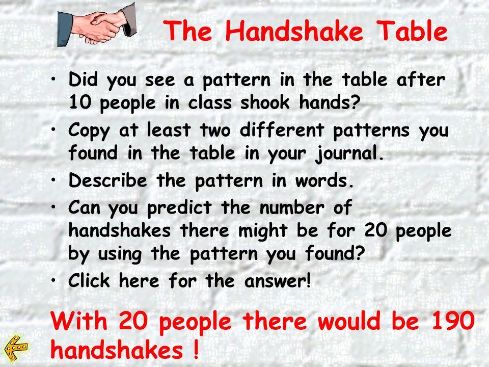 # of People # of Handshakes 10 21 33 The Handshake Table 10 21 33 46 5 10 6 15 7 21 8 28 # of People # of Handshakes