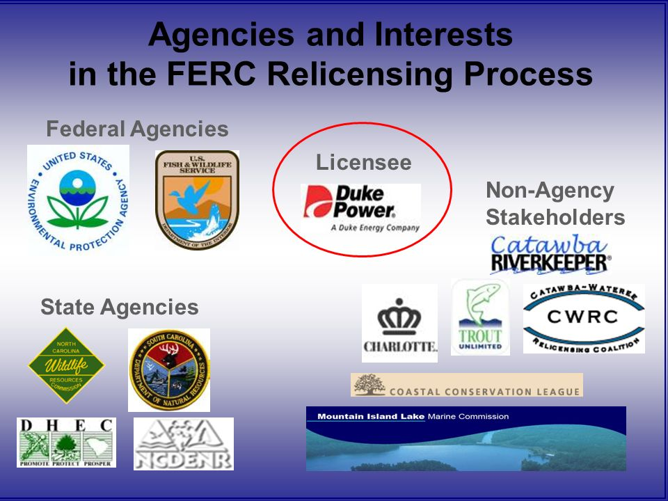 Agencies and Interests in the FERC Relicensing Process Licensee Federal Agencies State Agencies Non-Agency Stakeholders