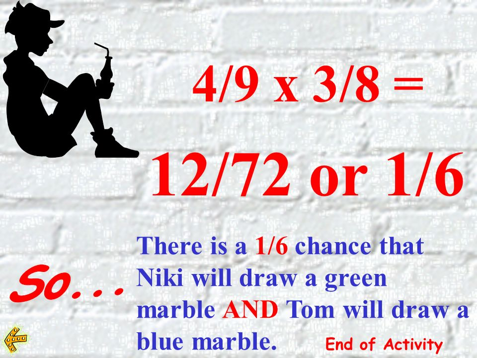 4/9 x 3/8 = 12/72 or 1/6 There is a 1/6 chance that Niki will draw a green marble AND Tom will draw a blue marble.