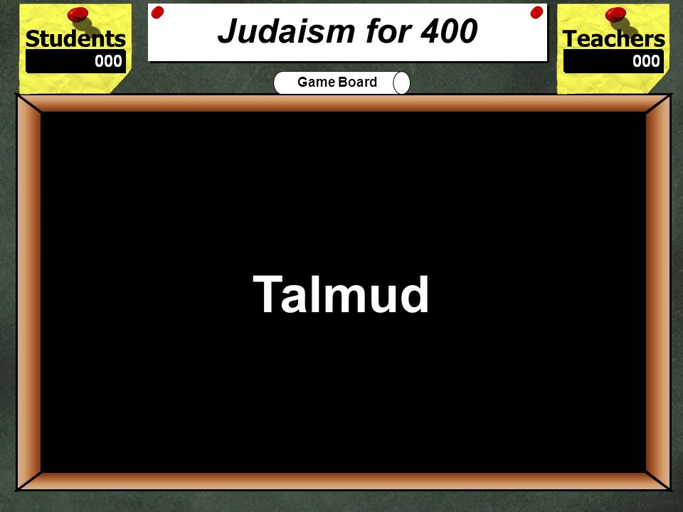 StudentsTeachers Game Board What are the the first five books of the Hebrew Bible called.