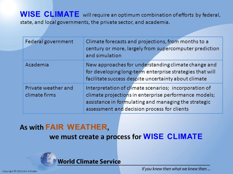 Copyright © 2010 John A Dutton WISE CLIMATE will require an optimum combination of efforts by federal, state, and local governments, the private sector, and academia.