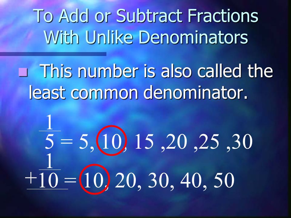 To Add or Subtract Fractions With Unlike Denominators This number is also called the least common denominator. This number is also called the least co