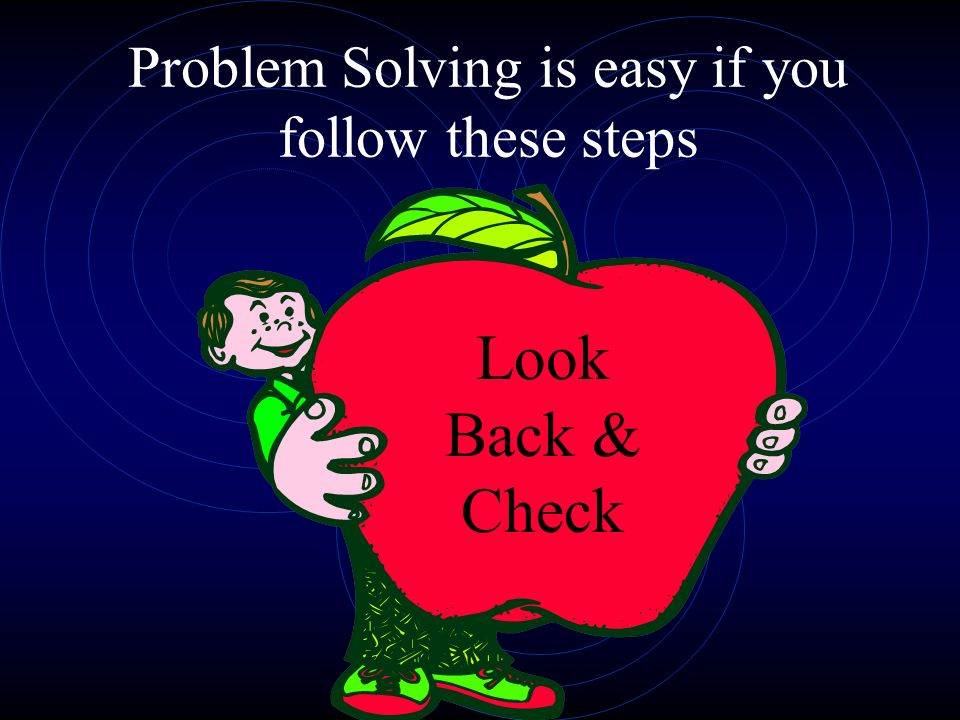 Problem Solving is easy if you follow these steps Look Back & Check