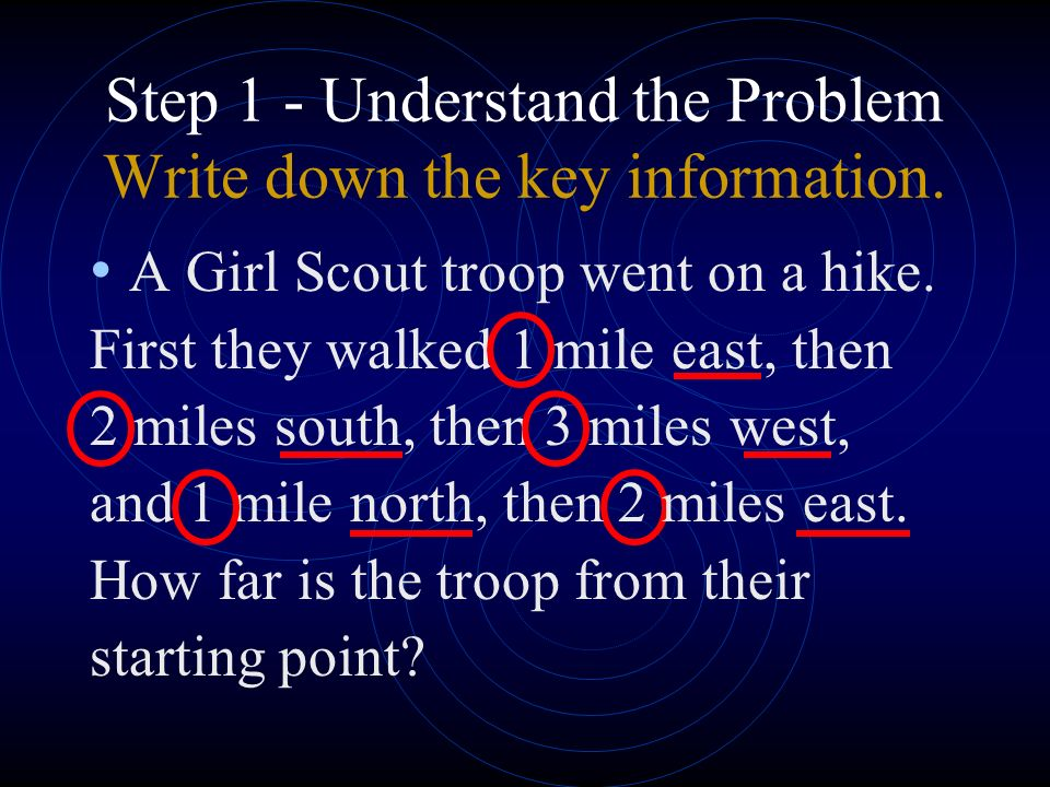 Step 1 - Understand the Problem Write down the key information.