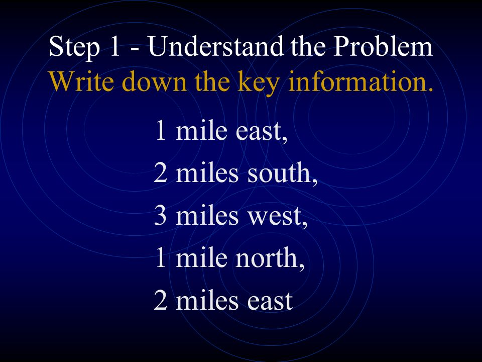 Step 1 - Understand the Problem Identify what the problem wants you to solve.