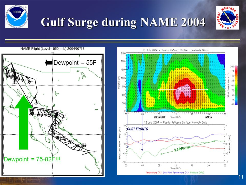 11 Gulf Surge during NAME 2004 Dewpoint = 55F Dewpoint = 75-82F!!!