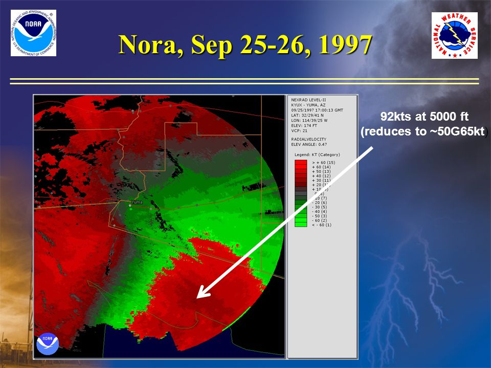 Nora, Sep 25-26, 1997 92kts at 5000 ft (reduces to ~50G65kt)