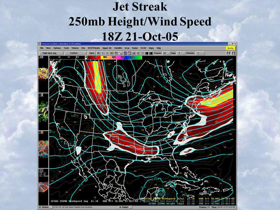 Jet Streak 250mb Height/Wind Speed 18Z 21-Oct-05