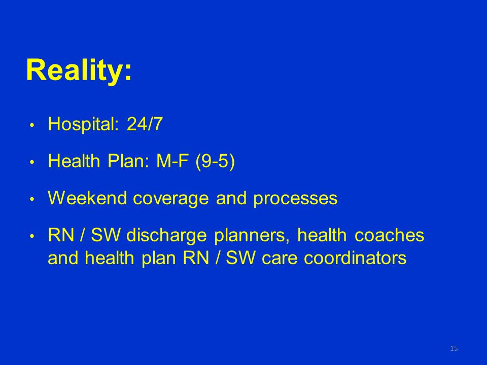 Reality: Hospital: 24/7 Health Plan: M-F (9-5) Weekend coverage and processes RN / SW discharge planners, health coaches and health plan RN / SW care coordinators 15