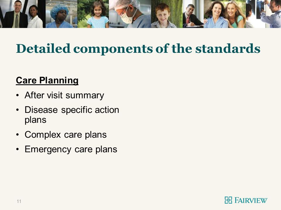 TWO CONTENT Detailed components of the standards Care Planning After visit summary Disease specific action plans Complex care plans Emergency care plans 11