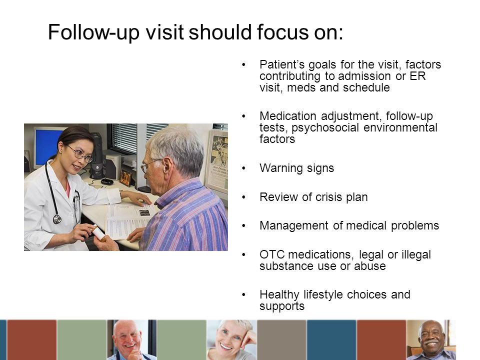 Follow-up visit should focus on: Patients goals for the visit, factors contributing to admission or ER visit, meds and schedule Medication adjustment,