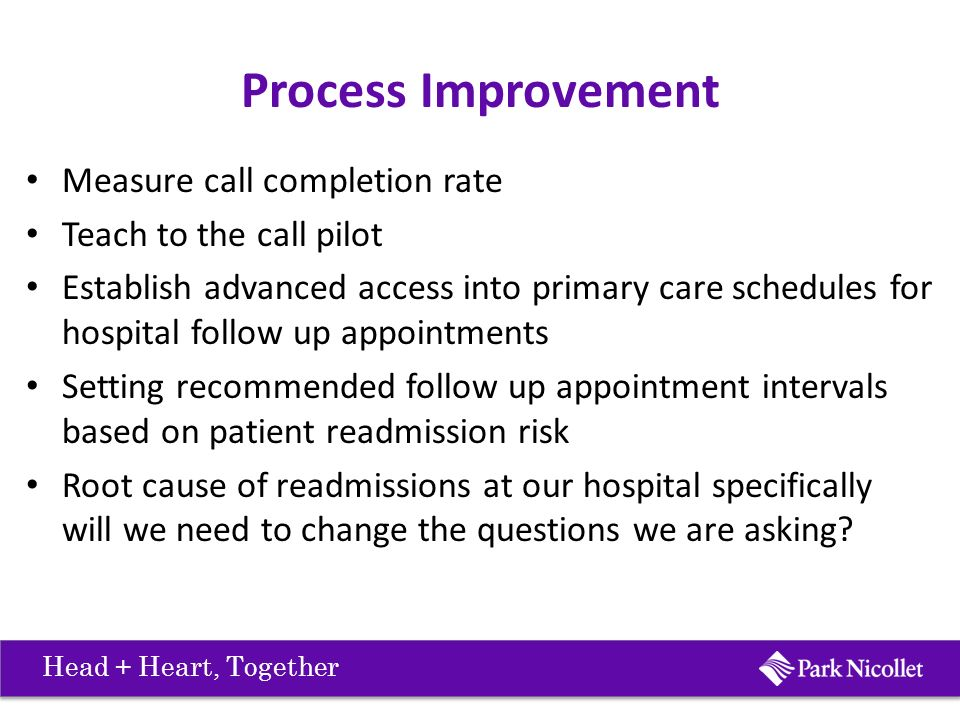 Process Improvement Measure call completion rate Teach to the call pilot Establish advanced access into primary care schedules for hospital follow up appointments Setting recommended follow up appointment intervals based on patient readmission risk Root cause of readmissions at our hospital specifically will we need to change the questions we are asking.