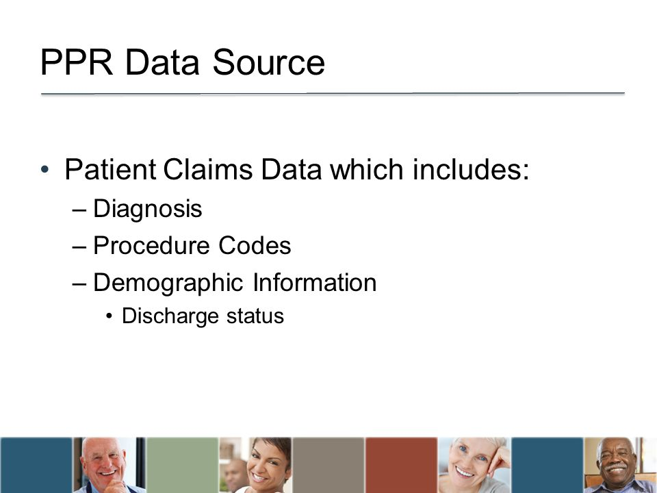 PPR Data Source Patient Claims Data which includes: –Diagnosis –Procedure Codes –Demographic Information Discharge status
