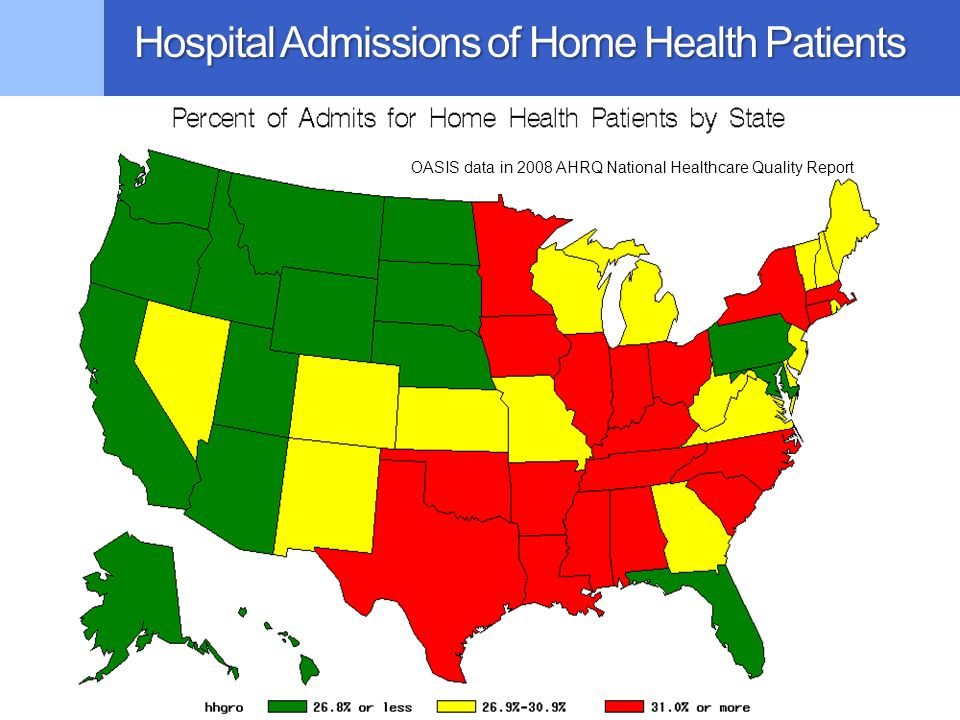 Hospital Admissions of Home Health Patients OASIS data in 2008 AHRQ National Healthcare Quality Report