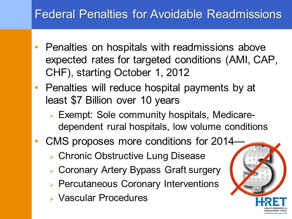 Federal Penalties for Avoidable Readmissions Penalties on hospitals with readmissions above expected rates for targeted conditions (AMI, CAP, CHF), st