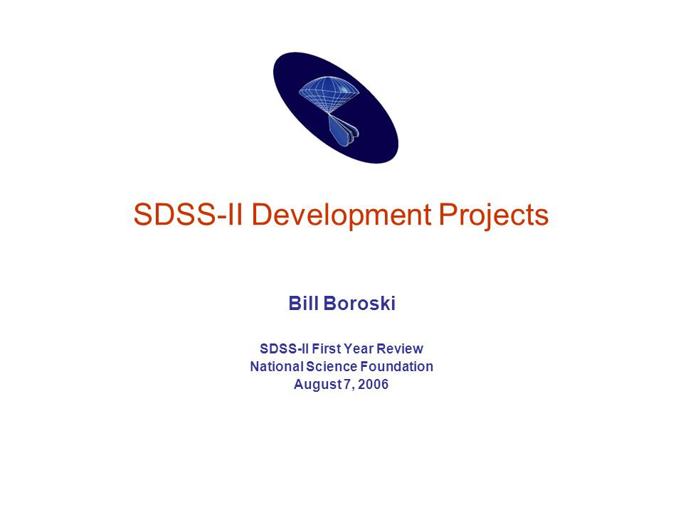SDSS-II Development Projects Bill Boroski SDSS-II First Year Review National Science Foundation August 7, 2006