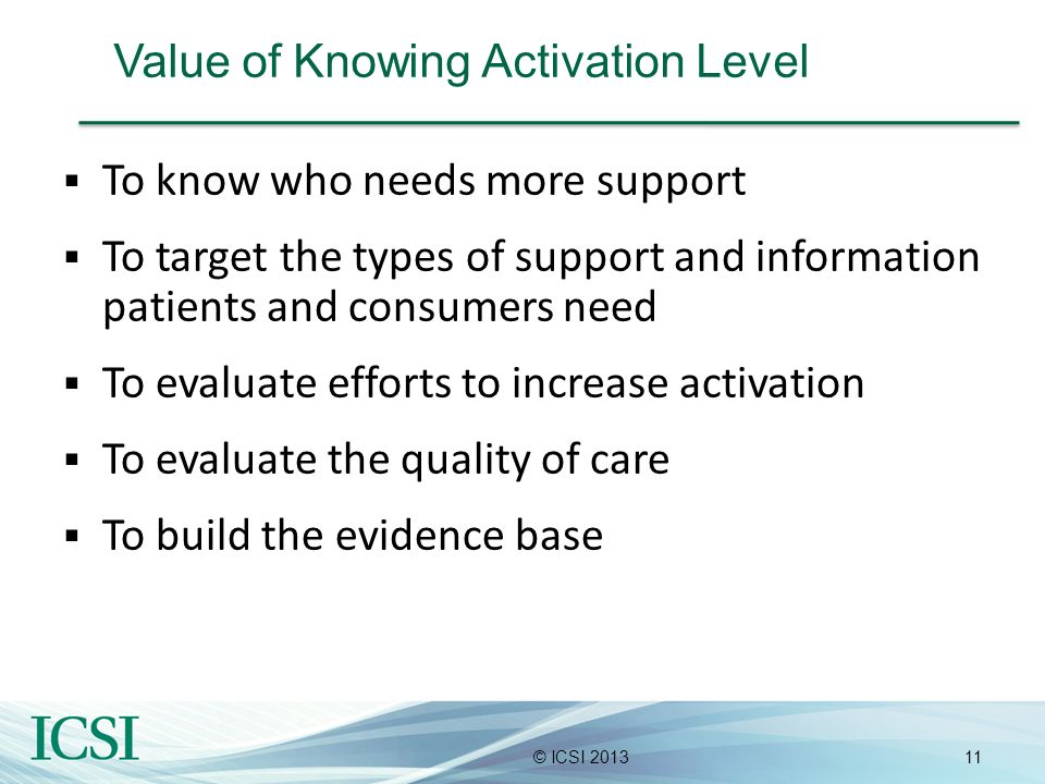 11© ICSI 2013 Value of Knowing Activation Level To know who needs more support To target the types of support and information patients and consumers n