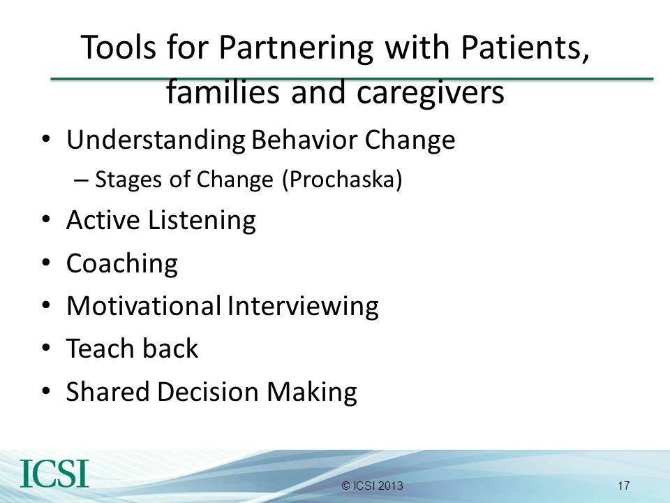 17© ICSI 2013 Tools for Partnering with Patients, families and caregivers Understanding Behavior Change – Stages of Change (Prochaska) Active Listenin