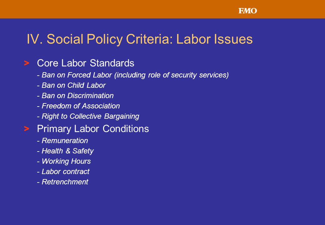IV. Social Policy Criteria: Labor Issues > Core Labor Standards - Ban on Forced Labor (including role of security services) - Ban on Child Labor - Ban