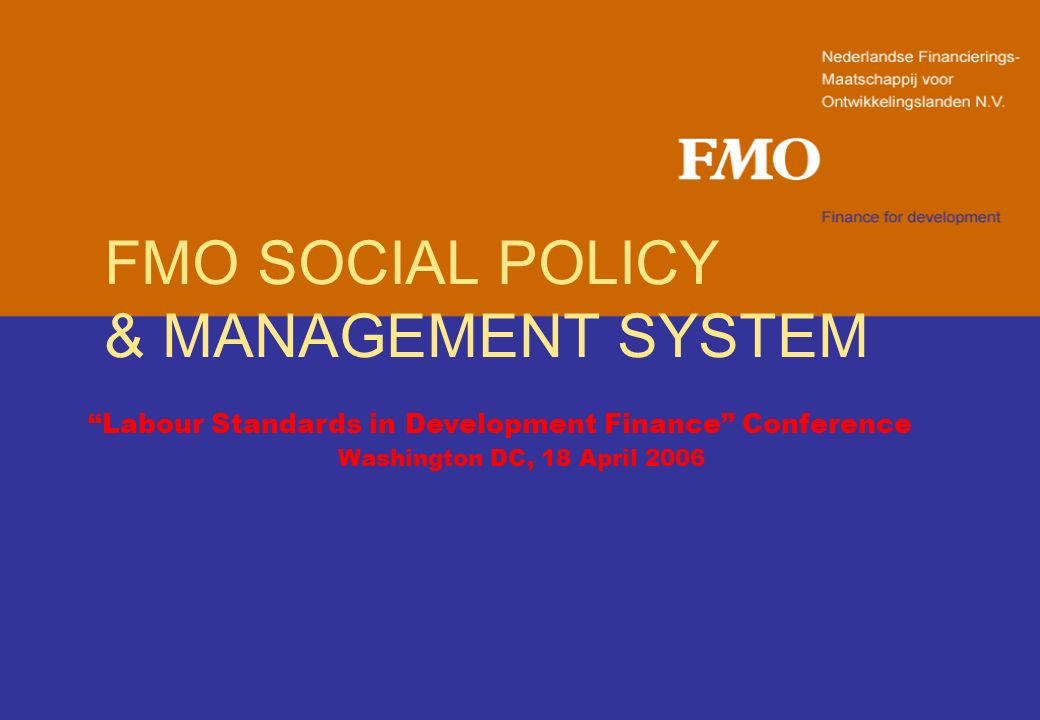 FMO SOCIAL POLICY & MANAGEMENT SYSTEM Labour Standards in Development Finance Conference Washington DC, 18 April 2006