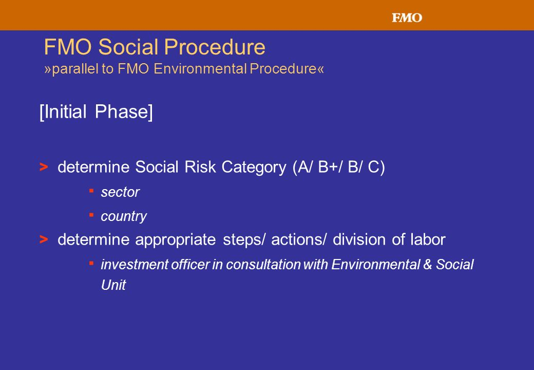 FMO Social Procedure »parallel to FMO Environmental Procedure« [Initial Phase] > determine Social Risk Category (A/ B+/ B/ C) · sector · country > det