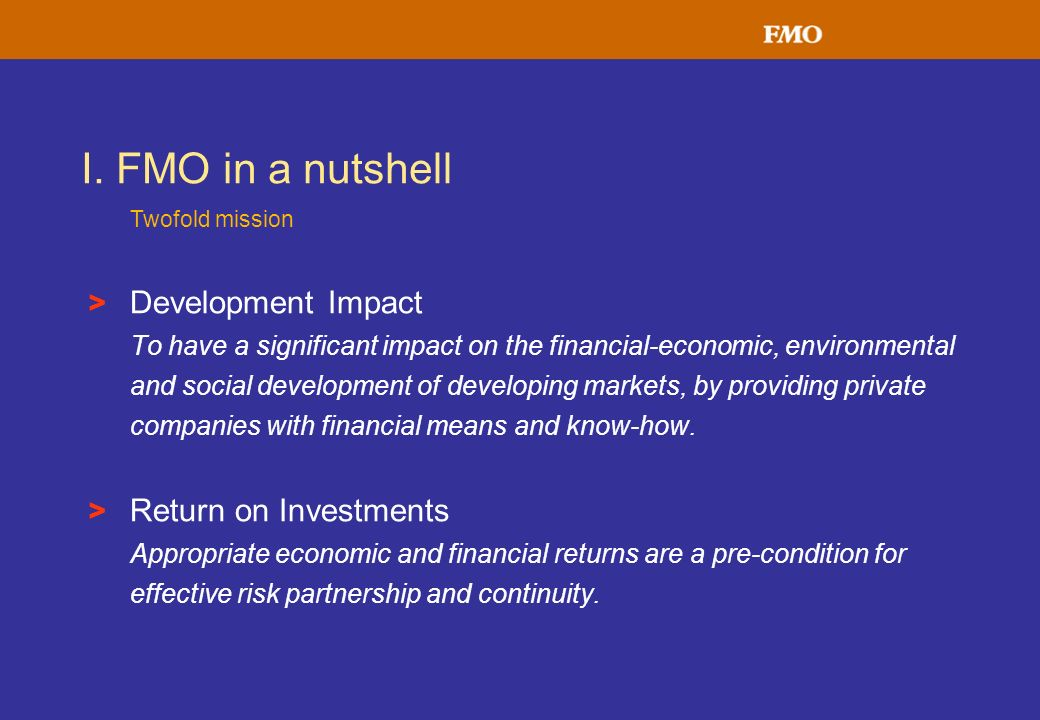> Development Impact To have a significant impact on the financial-economic, environmental and social development of developing markets, by providing