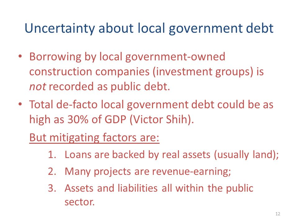Uncertainty about local government debt Borrowing by local government-owned construction companies (investment groups) is not recorded as public debt.