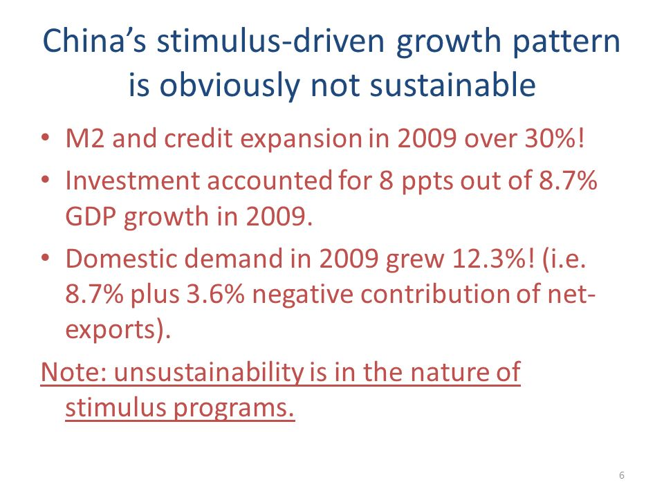 Chinas stimulus-driven growth pattern is obviously not sustainable M2 and credit expansion in 2009 over 30%! Investment accounted for 8 ppts out of 8.