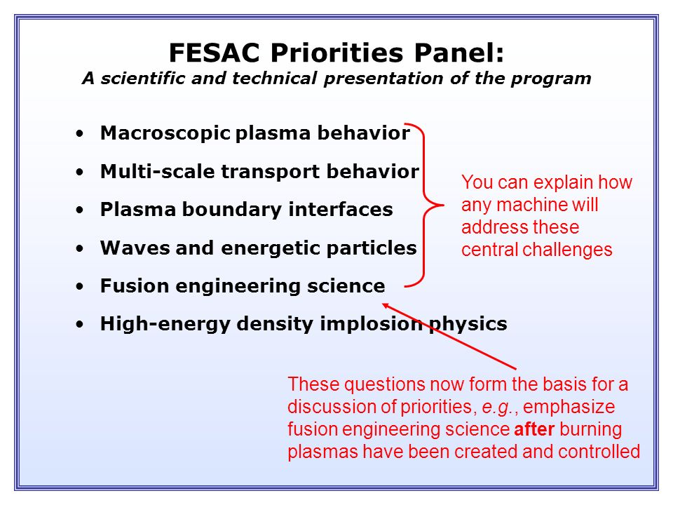 FESAC Priorities & Balance Fusion Energy Development ITER Performance Extension Proof of Principle Concept Exploration Advanced Stellarator Advanced Tokamak Spherical Torus Spheromak Cost
