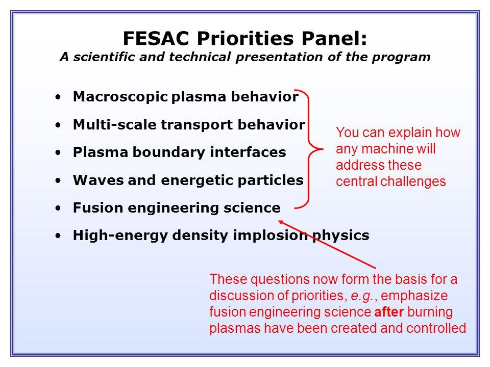FESAC Priorities & Balance Fusion Energy Development ITER Performance Extension Proof of Principle Concept Exploration Advanced Stellarator Advanced T