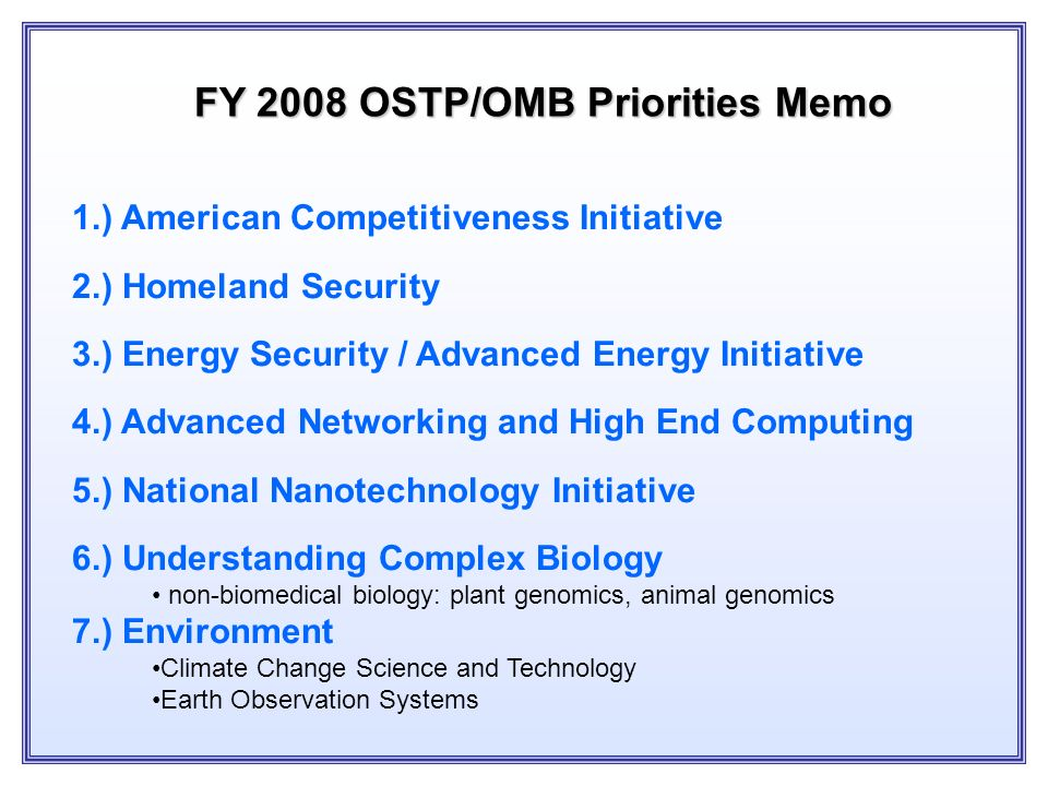 Federal R&D Priorities (obligations, in 1996 constant dollars) Source: National Science Foundation -5% 0% 5% 10% 15% 20% 25% 30% 1962 - 19681973 - 197