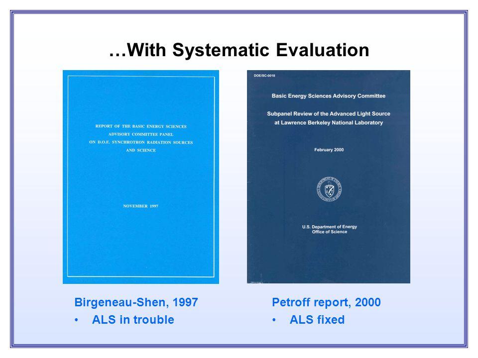 Highly Productive Suite of DOE Light Sources SSRL, NSLS: pre-existing APS, ALS: Trivelpiece Plan
