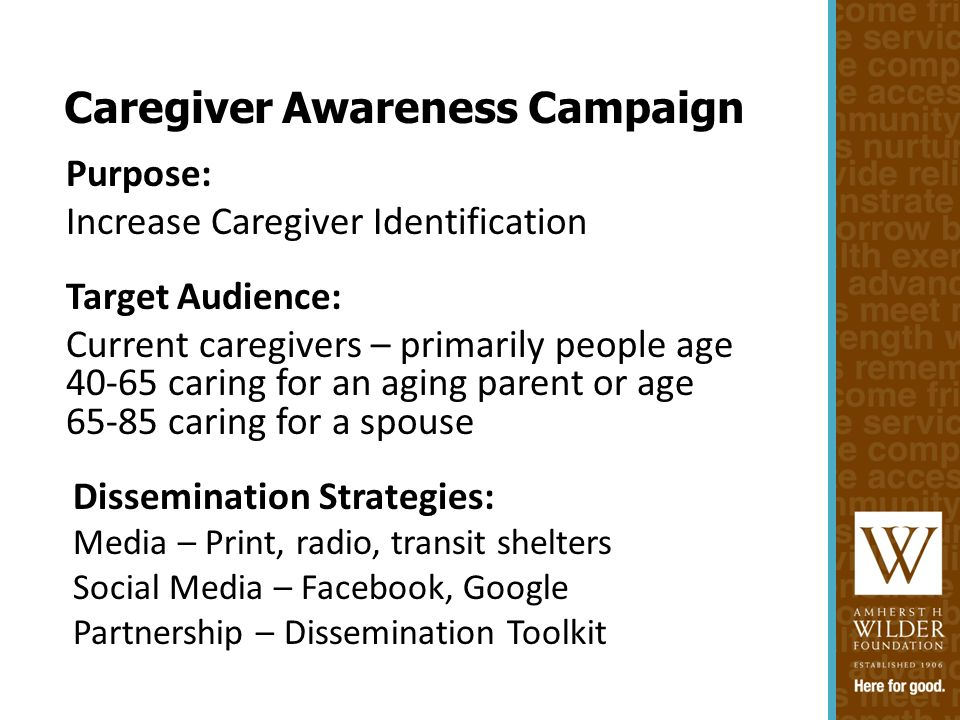 Purpose: Increase Caregiver Identification Target Audience: Current caregivers – primarily people age 40-65 caring for an aging parent or age 65-85 caring for a spouse Dissemination Strategies: Media – Print, radio, transit shelters Social Media – Facebook, Google Partnership – Dissemination Toolkit Caregiver Awareness Campaign